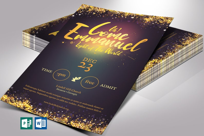 Emmanuel Christmas Flyer Word Publisher Template  Size 5x8 image 0