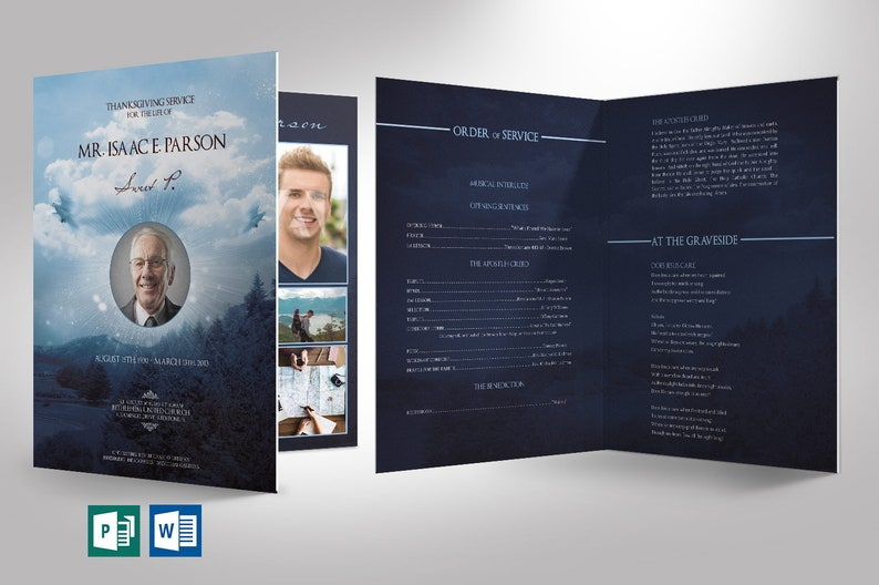 Blue Sky Funeral Program Large Word Publisher Template  8 image 0