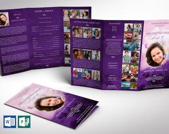 "Purple Sky Tabloid Trifold Funeral Program Word Publisher Template | Print Size 11""x17"" | Tri-fold Size 5.75""x11"""