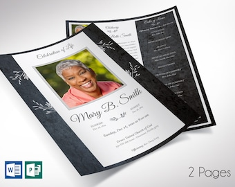 """Graystone One Sheet Funeral Program Word Publisher Template V2 