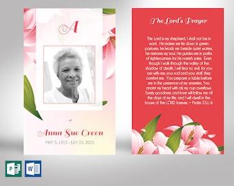 "Petals Memorial Prayer Card Word Publisher Template | Size 2.75""x4.5"""