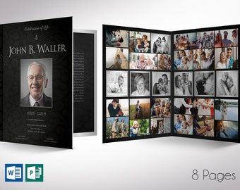 """Black Silver Tabloid Funeral Program Word Publisher Template V2 