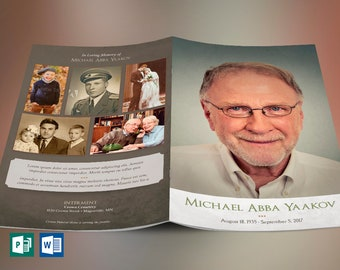 """Retro Funeral Program Word Publisher Template   4 Pages   Print Size: 8.5""""x11""""   Bi-fold to 5.5""""x8.5"""""""