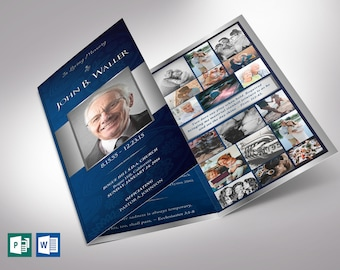 """Blue Silver Trifold Funeral Program Word Publisher Template V2 