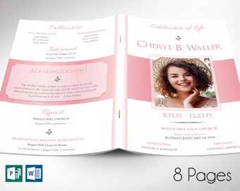 """White Pink Funeral Program Word Publisher Template 