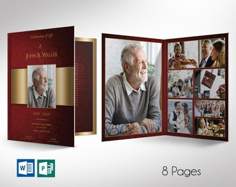 """Burgundy Gold Tabloid Funeral Program Word Publisher Template - 8 Pages 