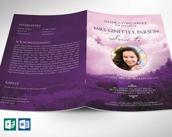 """Purple Sky Funeral Program Word Publisher Template 