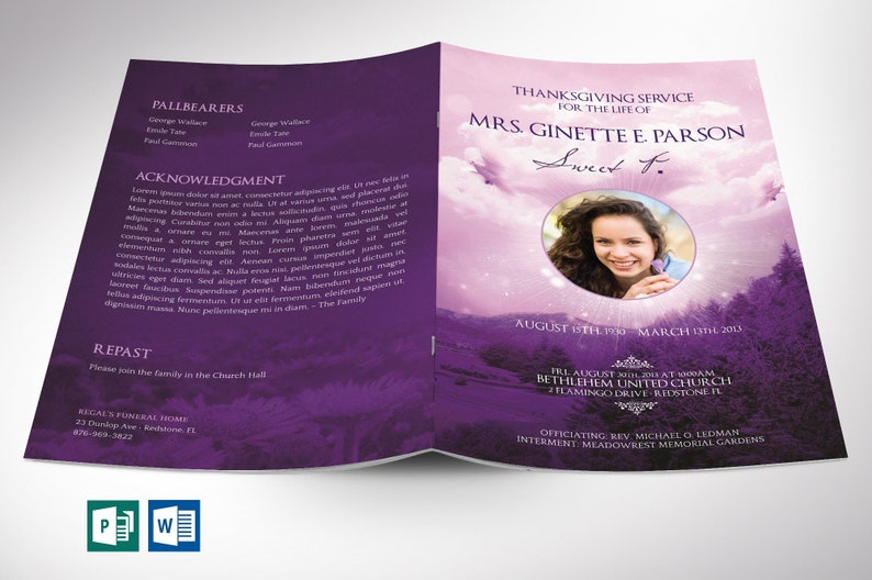 Purple Sky Funeral Program Word Publisher Template  8 Pages  image 0
