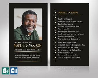"Diamond Funeral Prayer Card Template | Editable Colors | Print Size 3.25""x5.25"" | Cut Size 3""x5"""