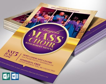 "Mass Choir Concert Flyer Word Publisher Template | Editable Colors* | Print Size 4.25""x6.25"" | Cut Size 4""x6"""