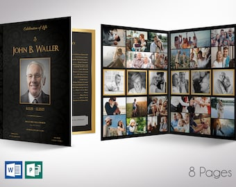 """Black Gold Tabloid Funeral Program Word Publisher Template - V2   8 Pages   Print Size: 11""""x17""""   Bi-fold to 8.5""""x11"""""""