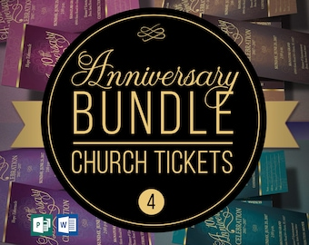 """Church Anniversary Ticket Template Bundle 