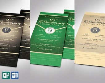 """Anniversary Banquet Ticket Bundle Word Publisher Template 
