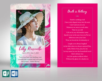 """Painted Funeral Prayer Card Word Publisher Template 