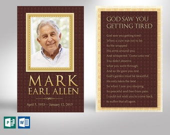 """Legacy Memorial Prayer Card Word Publisher Template 