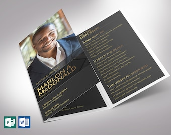 """Gold Luxury Trifold Funeral Program Word Publisher Template   *Editable Colors   Print Size: 8.5""""x11"""""""