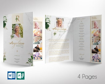 """Tropica Funeral Program Word Publisher Large Template   4 Pages   *Editable Colors   Print Size: 11""""x17""""   Bi-fold to 8.5""""x11"""""""