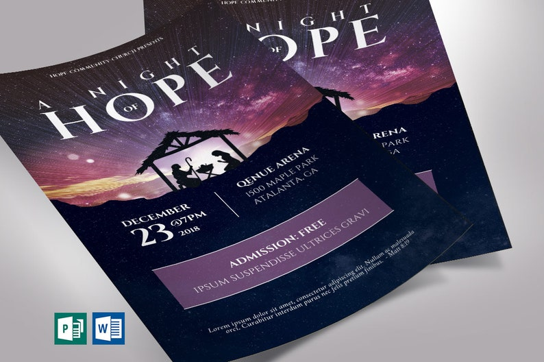 Hope Christmas Flyer Word Publisher Template  Invitation  image 0