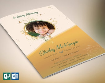 """Golden Princess Funeral Program Word Publisher Template 