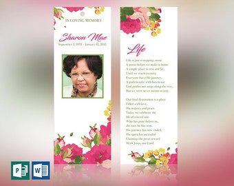 """Pink Watercolor Funeral Bookmark Word Publisher Template 