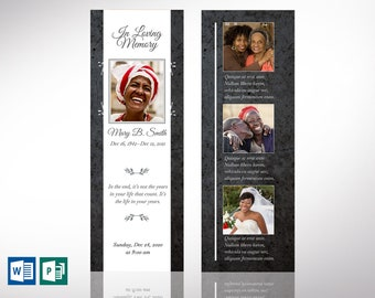 """Graystone Funeral Bookmark Word Publisher Template 