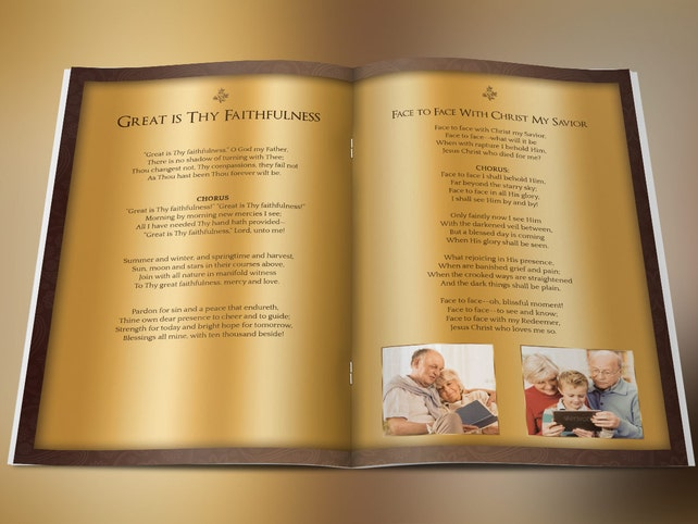 Solid Gold Funeral Program Photoshop Template Includes 4 | Etsy