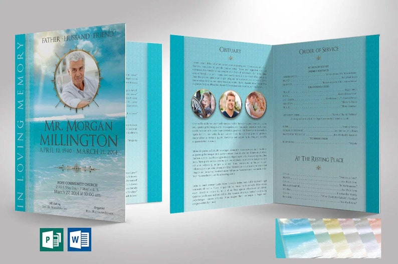 Oceanic Funeral Program Tabloid Word Publisher Template  4 image 0