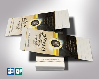 """Black Gold Clergy Banquet Ticket Word Publisher Template   Size: 3""""x7"""""""