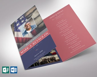"""American Military Trifold Funeral Program Word Publisher Template - V1   Editable Colors   Print Size: 8.5""""x11"""""""