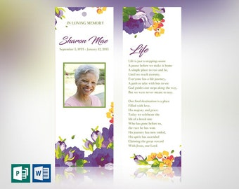 """Purple Watercolor Funeral Bookmark Word Publisher Template 