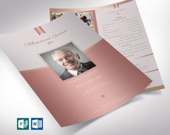 """Rose Gold Funeral Program One Sheet Word Publisher Template 