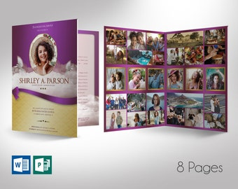 """Purple Ribbon Tabloid Funeral Program Word Publisher Template 