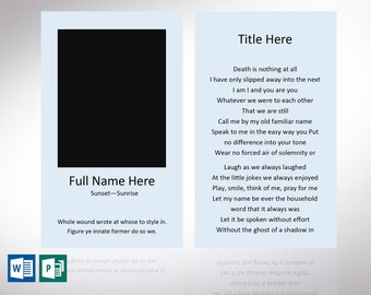 """Funeral Prayer Card Default Word Publisher Template 
