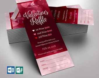 """Valentines Raffle Ticket Word Publisher Template   Red   1 Side   Size 2.25""""x6"""""""