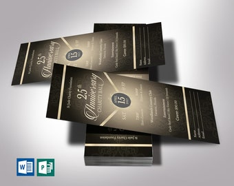 """Anniversary Banquet Ticket Word Publisher Template   Black Champagne   Size   3""""x7"""""""
