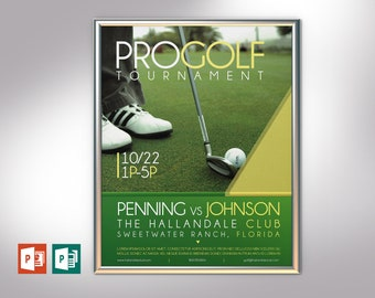 """Golf Tournament Poster Publisher PowerPoint Template   Editable Colors   4 Variations included   Size 22""""x28"""""""