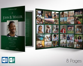 """Green Silver Regal Tabloid Funeral Program Word Publisher Template 