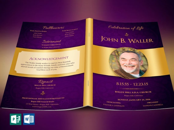 Regal Funeral Program Word Publisher Template