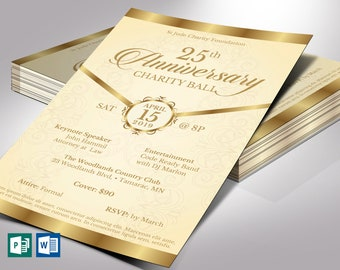 """Cream Gold Anniversary Gala Flyer Word Publisher Template 