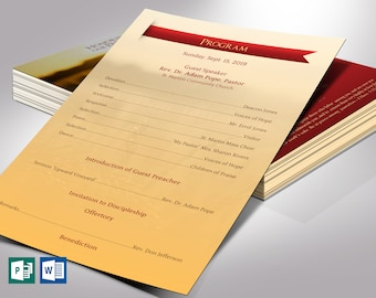 """Pastor Anniversary Program One Sheet Word Publisher Template 