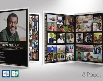 "Diamond Tabloid Funeral Program Word Publisher Template | 8 Pages | *Editable Colors | Print Size 11""x17"" |  Bi-Fold Size 8.5""x11"""