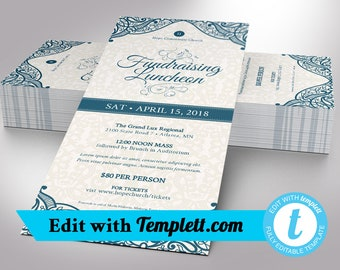 """Blue Fundraising Luncheon Flyer Templett - Editable in any web browser on templett.com 