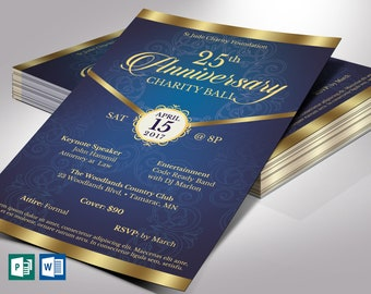 """Blue Gold Anniversary Gala Flyer Word Publisher Template 