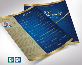 """Blue Gold Anniversary Gala One Sheet Program Word Publisher Template 