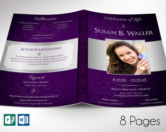 """Purple Silver Dignity Funeral Program Word Publisher Template   8 Pages   Print Size 8.5""""x11""""   Bi-fold to 5.5""""x8.5"""""""
