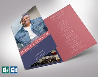 """American Military Trifold Funeral Program Word Publisher Template - V4   Editable Colors   Print Size: 8.5""""x11"""""""
