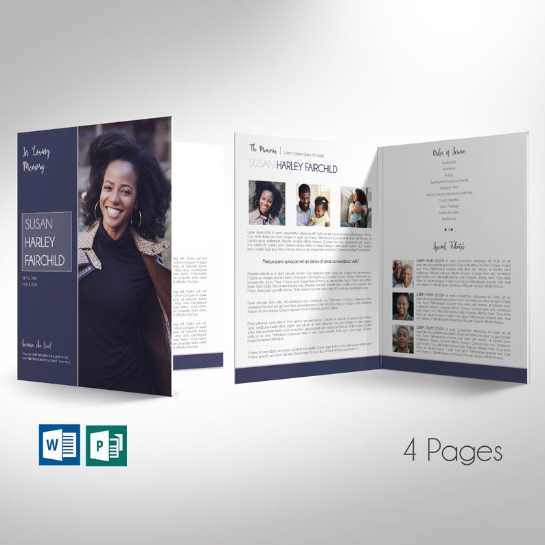 Purple Funeral Program Large Word Publisher Template  4 pages image 0