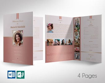 """Rose Gold Funeral Program Word Publisher Large Template 
