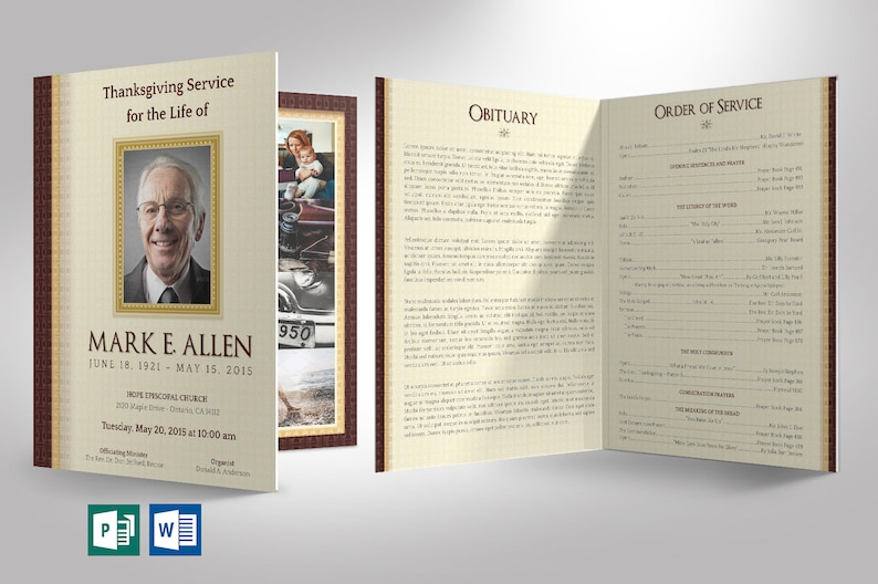 Legacy Funeral Program Tabloid Word Publisher Template  8 image 0