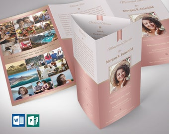 """Rose Gold Legal Tri-fold Funeral Program Word Publisher Template 